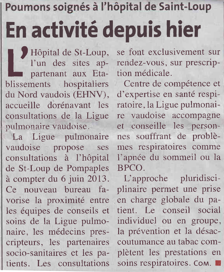 article de journal, hopital de Saint-Loup